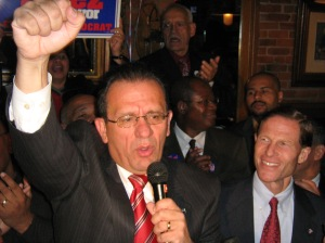 Perez on election night in 2007 (WNPR File Photo)